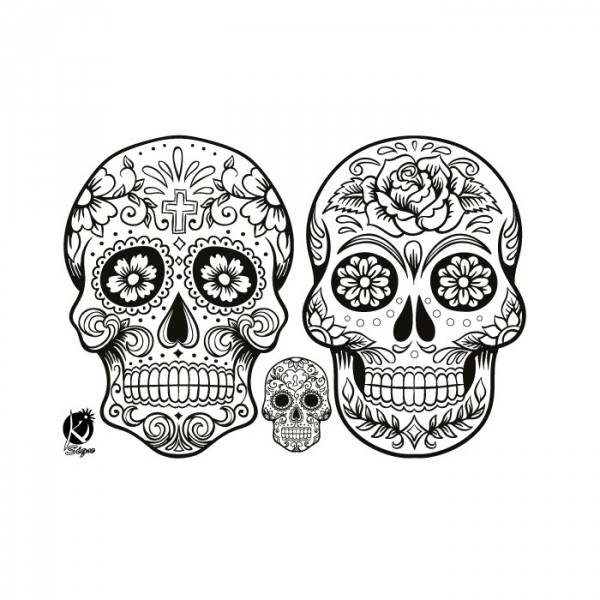 Coloriage Tete De Mort Mexicaine Fille